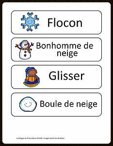 Étiquettes-mots de l'hiver à imprimer gratuitement La Magie du Préscolaire - Matériel éducatif et autres