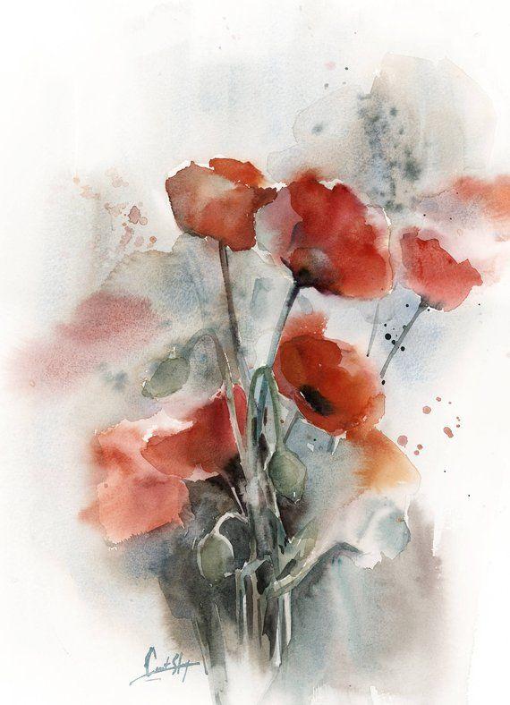 Mohn Blumen Original Aquarell Rote Blumen Botanische Moderne