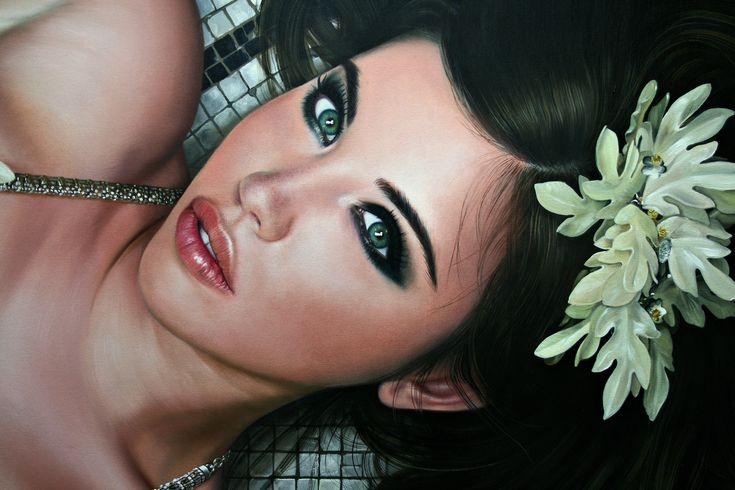 Скачать обои цветок, глаза, взгляд, девушка, лицо, волосы, губы, лежит, красивая, живопись, Christiane Vleugels, раздел живопись в разрешении 3888x2592