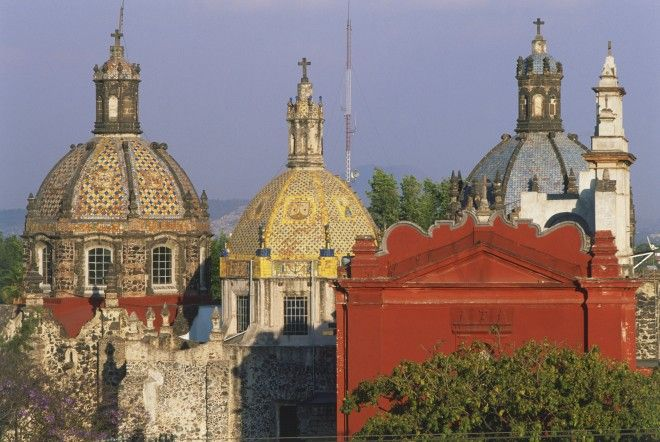 Mexico, Mexico City, San Angel district, the domes of the Museo del Carmen