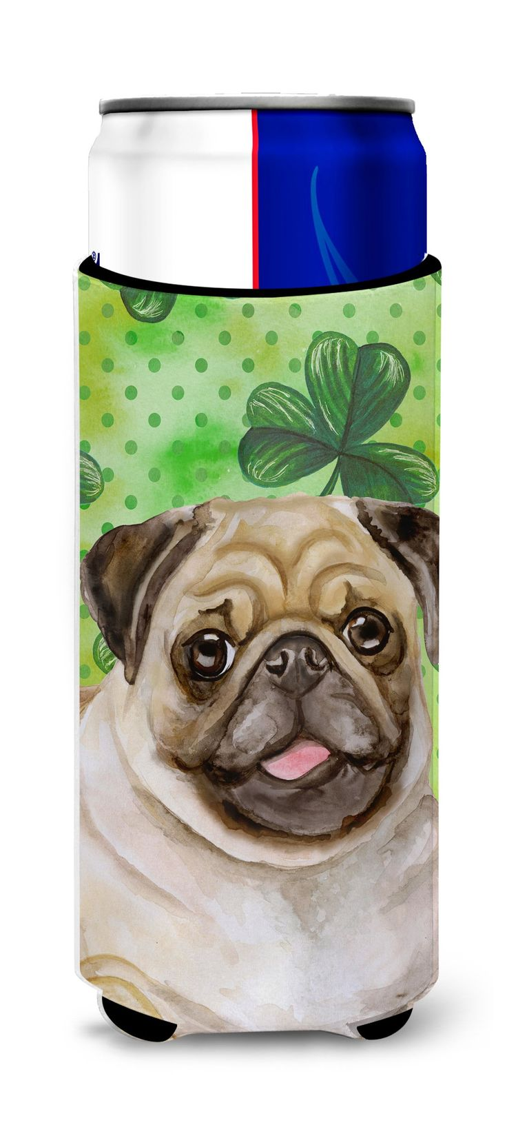 Fawn Pug St Patrick's Michelob Ultra Hugger for slim cans BB9892MUK
