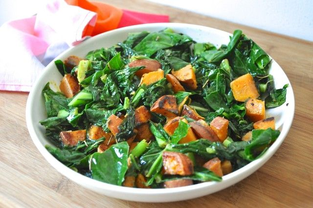 Healthy and delicious - Hot Southern Greens with Sautéed Sweet Potatoes