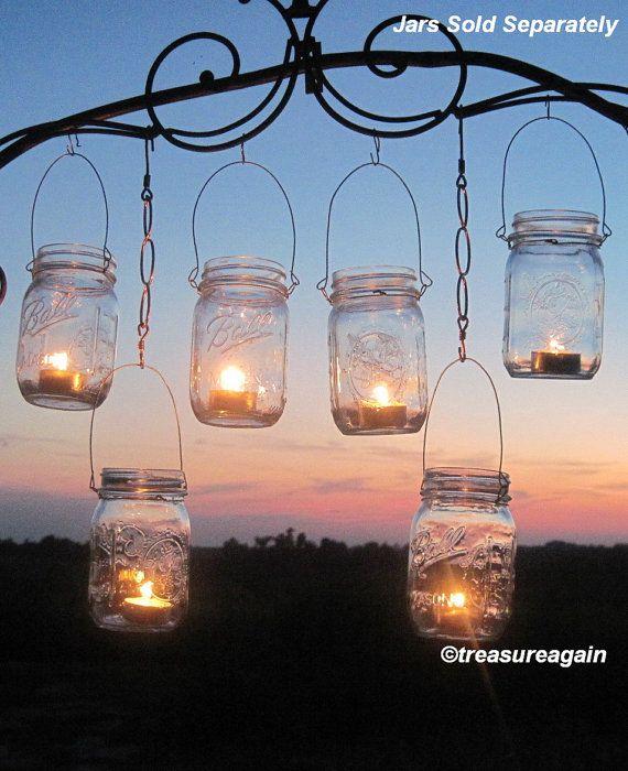 DIY Wedding Mason Jars Lanterns Hangers 6 DIY di treasureagain