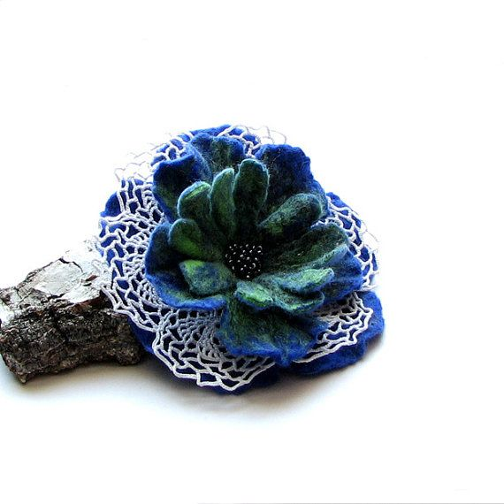 Blue FLOWER Brooch Felted Brooch Felt Flower Brooch by albado, $28.00