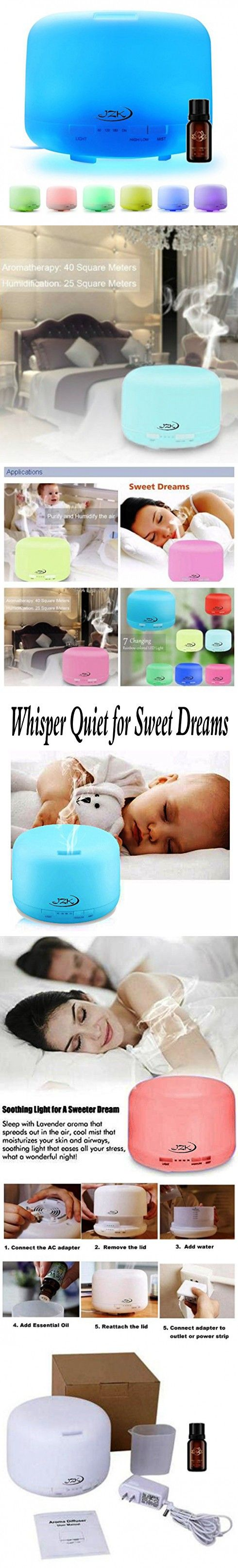 500 ml Aromatherapy Essential Oil Diffuser Ultrasonic Cool Mist Humidifier with 4 Timer Settings, 7 LED Color Changing Lights and Auto Shut-off for Office Home Bedroom Baby Room Study Yoga Spa by JZK