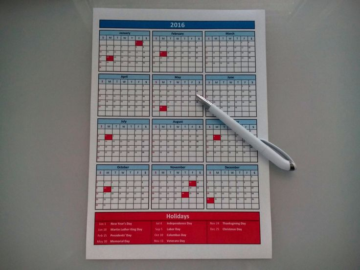 Printable 2016 Calendar with Federal Holidays by SalensSVR on Etsy