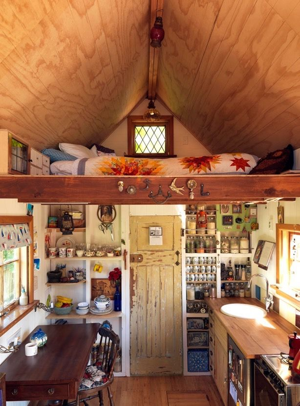 Lily's 150 Sq. Ft. Tiny House on Wheels in New Zealand. Loft for storage, not sleeping.