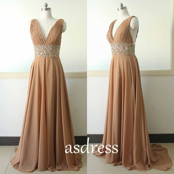 Fabulous Sexy Seep V neck Brown Chiffon Party Dress Sequins Bridesmaid dress Custom A line Wedding Party Gown Sexy V neck Cocktail Lace Gowns