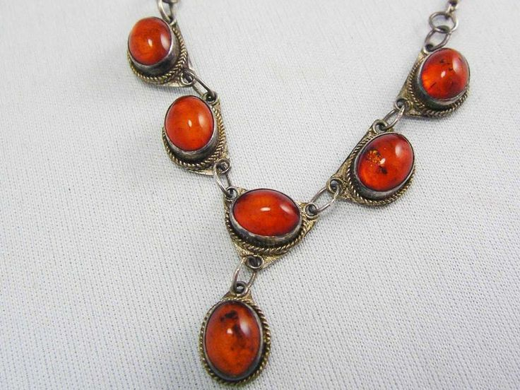 Exquisite Genuine Vintage Mid Century Baltic Amber Sterling Silver Drop Necklace