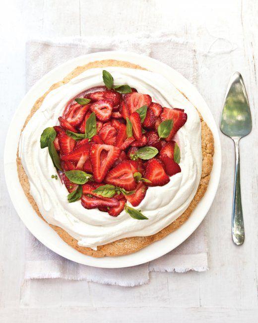 Strawberry Shortcake with Basil / Martha Stewart