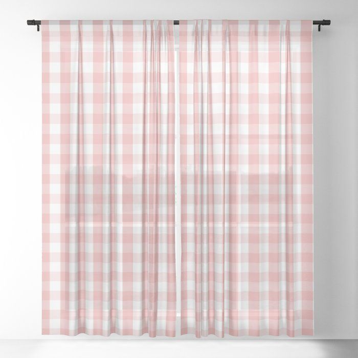Large Lush Blush Pink And White Gingham Check Window Sheer Curtain Nothing Makes A Room Come To Life More Than Some Go Curtains Curtain Texture Sheer Curtains