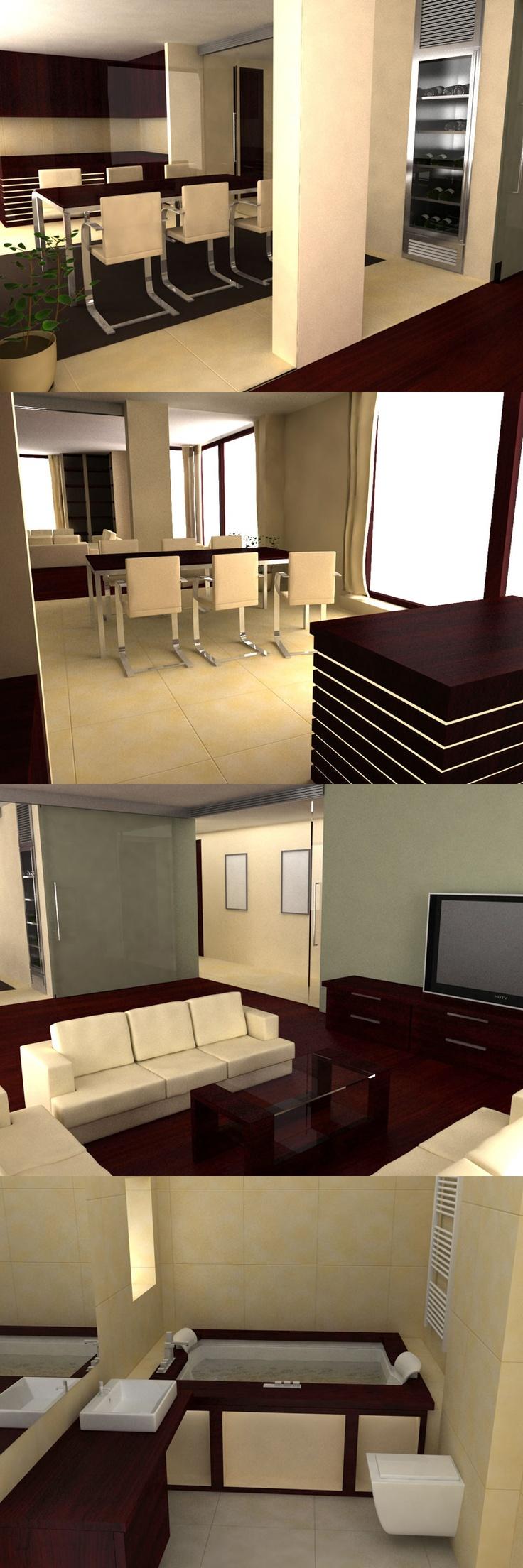 Architectonic visualisation of modern interior