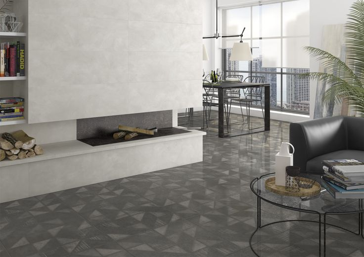 Living room | salon | Walton-SPR Antracita | Gilmore Gris | contemporary home | home inspiration | Arcana Tiles | Arcana Ceramica