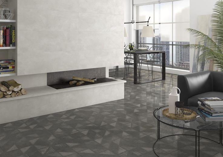 Living room | salon | Walton-SPR Antracita | Gilmore Gris | contemporary home | home inspiration | Arcana Tiles | Arcana Ceramica