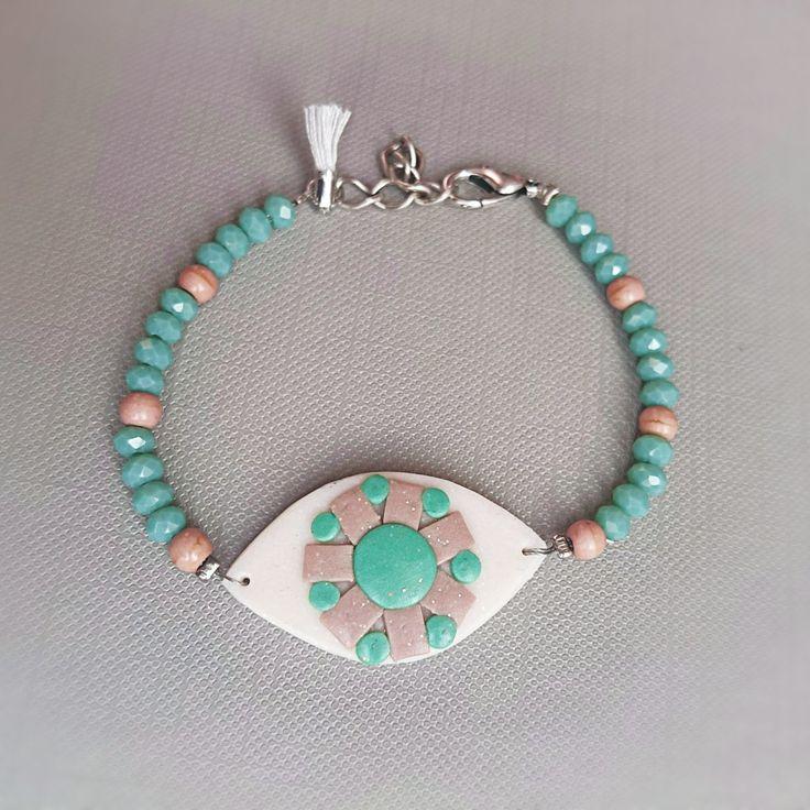 Bohemian Evil Eye Tassel Bracelet, Mosaic Polymer Clay Mint & Beige Beaded Bracelet, Greek Mati, Ethnic Bracelet, Nazar, Colorful Jewelry by BeeJouJoux on Etsy