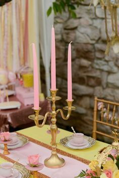 Beauty and the Beast tea party candle holders with pink candles from @sweetlychiddes
