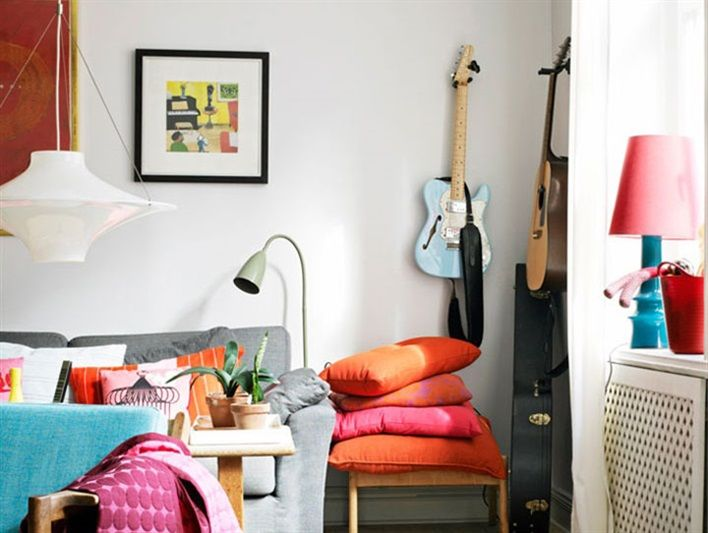 södermalm colorful retro living room