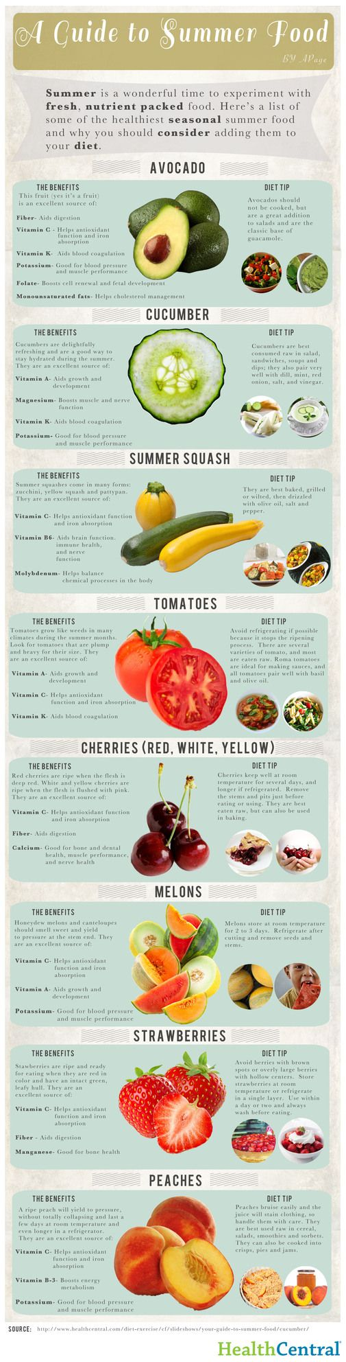 Foodista | Infographic: A Guide to Summer Foods | outlines some of summer's best fruits and vegetables, and their health benefits. Experiment with some of the season's finest harvests before it's time to get your coats and mittens on again.