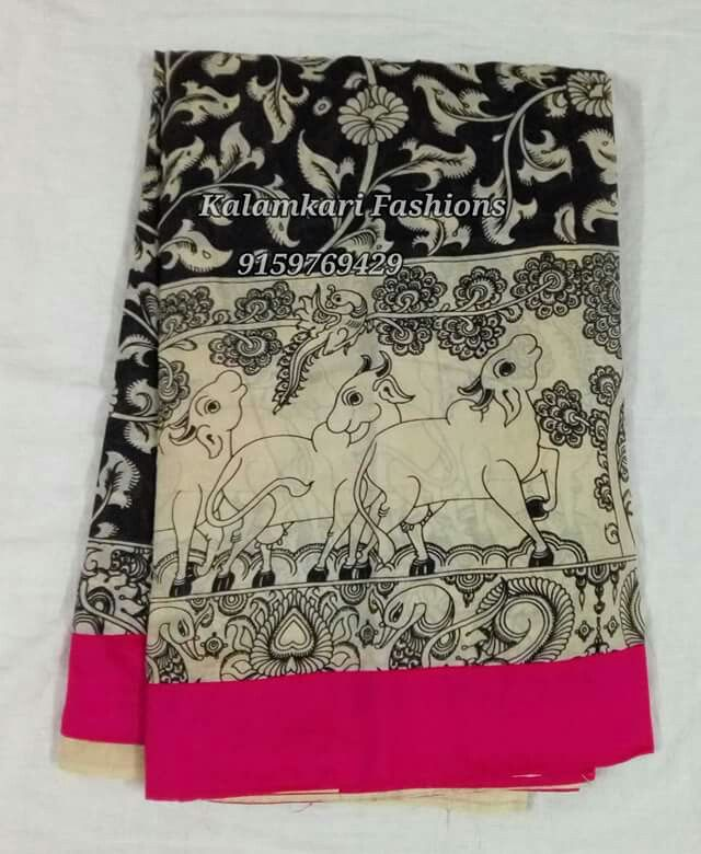 Kalamkari  black  and white sarees with border work