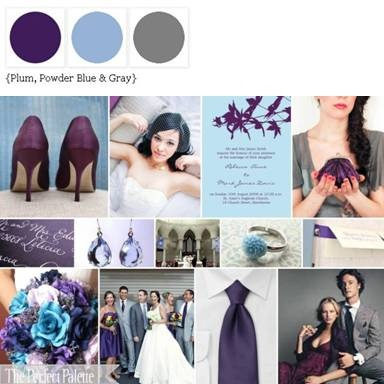 Plum, blue, and gray... Wedding palette color scheme ideas.