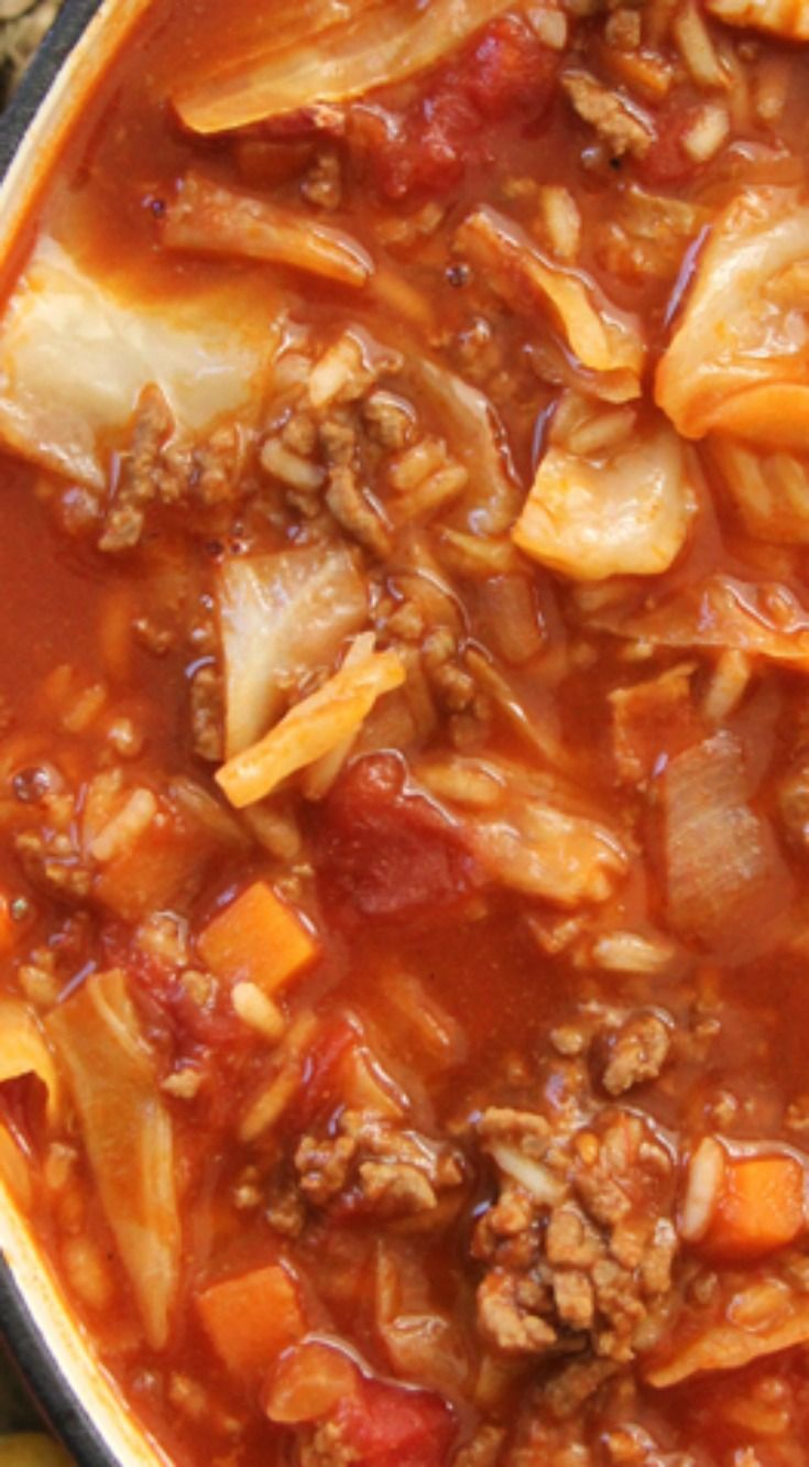 Cabbage Roll Soup ~ A hearty, healthy and delicious dinner…and it tastes just like cabbage rolls!  Ready in 1 hour!