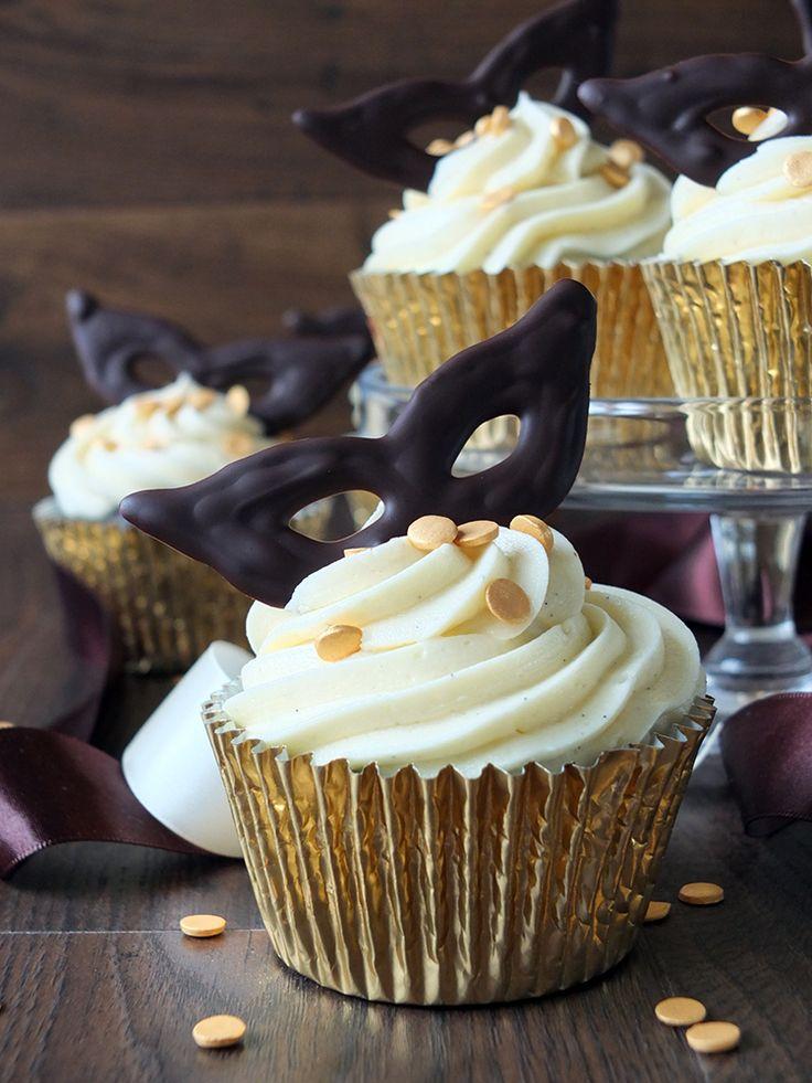 Chocolate Fudge Masquerade Cupcakes with a Bourbon Vanilla Buttercream