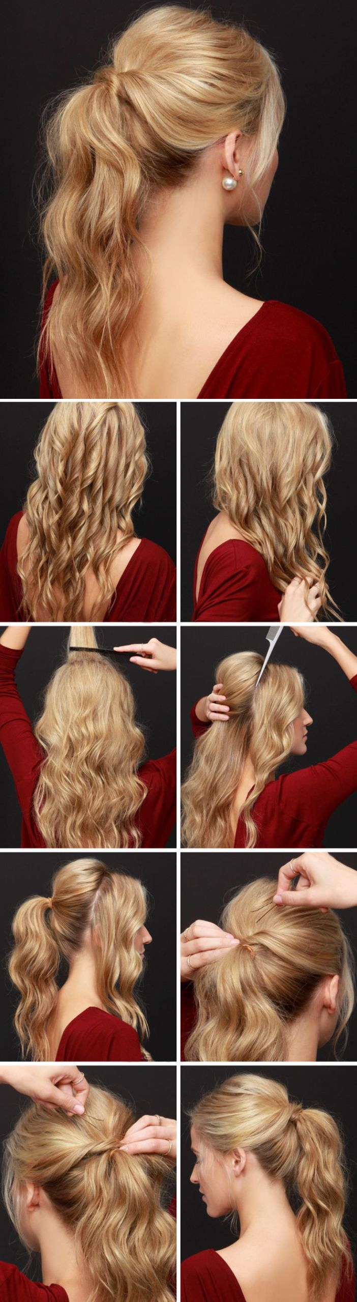 A preparation for party requires a lot of time and sources, especially if you want to look amazing. Let's start with the hair:This is a great looking ponytail, which is absolutely appropriate for a dancing night. If your hair is naturally straight, you have to curl it first. Remember to protect your hair with a thermal protector before the curling.Then comb the hair in order to merge the strands together. Give the hair a volume by back-combing it at the roots.Separate two large strands from…