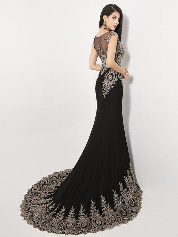 Black Evening Gowns with Trains