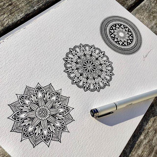 Mandala zentangle zenart designs black on white