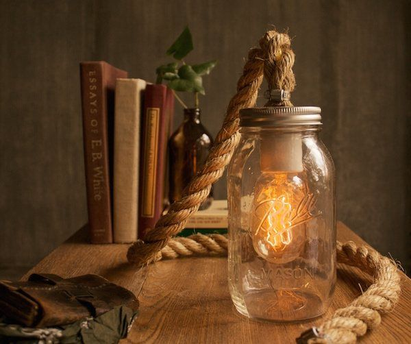 One of my original designs, this mason jar rope lamp has found its way to customers all over the world – the internet truly amazes me. If you have any questions about voltage and international adapters feel free to get in touch and I'll walk you through it! I really love mason jars.