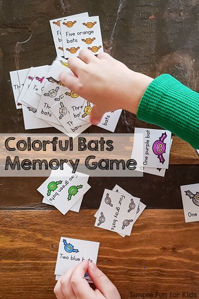 colorful bats memory game with color and number words - Color Games For Kindergarten