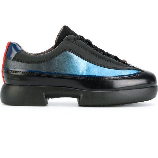 Camper paneled sneakers ($220) ❤ liked on Polyvore featuring shoes, sneakers, black, camper sneakers, camper shoes, camper footwear, black sneakers and leather footwear