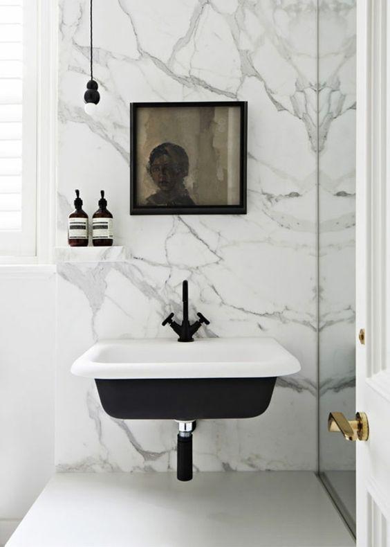 Salle de bains - marbre - noir et blanc