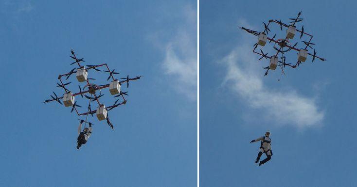 Латвийская компания Aerones осуществила первый в мире прыжок человека с дрона, находящегося на большой высоте.