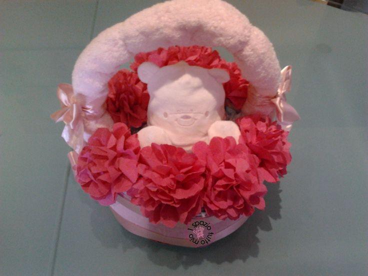 Cestino di pannolini composta da pannolini, asciugamani, berretto e calzini neonato