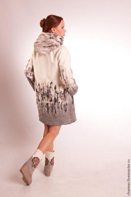 """Купить Пальто валяное """"Кудряшка"""",дизайнер Татьяна Долубекова - белый, абстрактный, пальто, пальто валяное"""