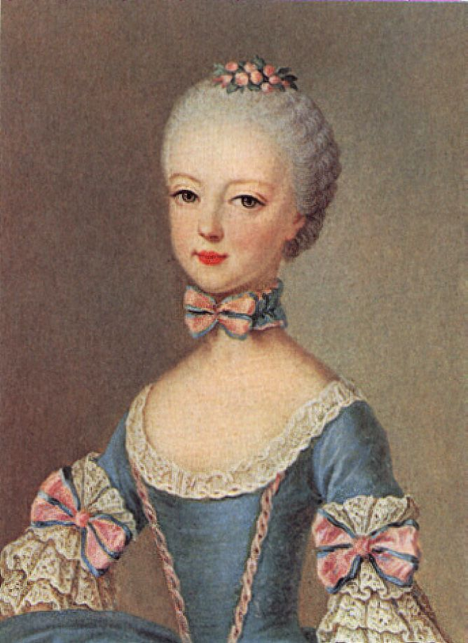 Young Marie Antoinette.  Believe it or not, the little ruff around the neck was an 18th century interpretation of Elizabethan ruffs.  This was the trendy thing to do.
