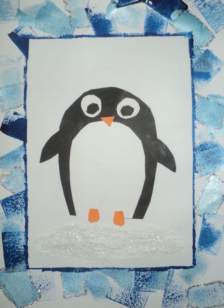 Tučňák na ledu - tisk houbičkou, strukturovací pasta, glitrové lepidlo