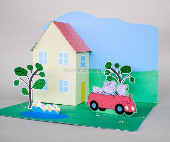 3D Peppa Pig Centerpiece Peppa Pig House by IraJoJoBowtique