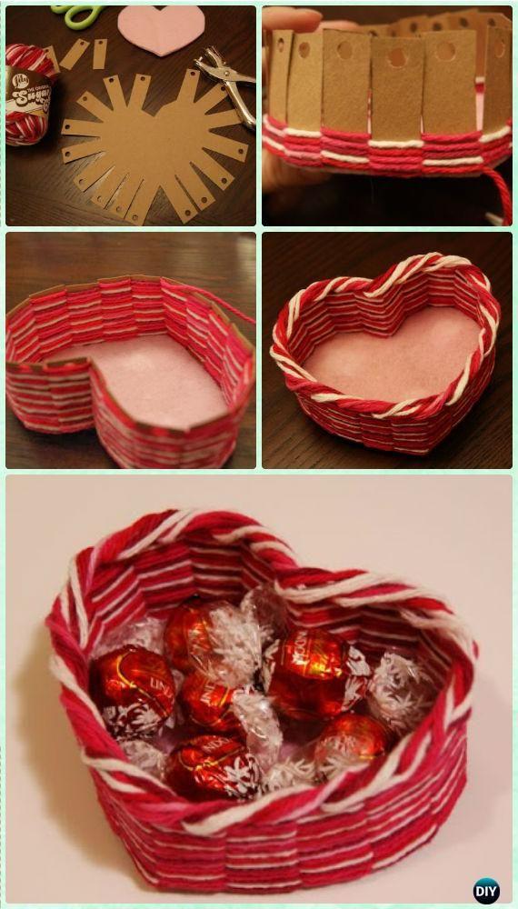 DIY Heart Yarn Basket Instruction - Yarn Crafts No Crochet