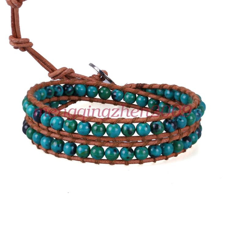2 Wrap Bracelet Turquoise Bead On Genuine Leather Fashion Handmade Chain Jewelry