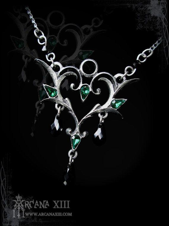 Elven necklace with swarovski Ellestian Romance by ArcanaXIII, $40.00