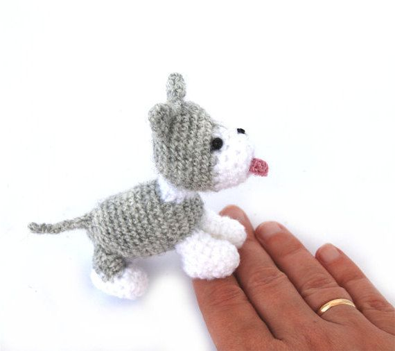 $33.64 amigurumi HUSKY dog, miniature dog puppy, grey #siberianhusky, black husky, tiny dog doll, small #collectible animal pet, soft dog figurine, #handmade puppy by crochAndi