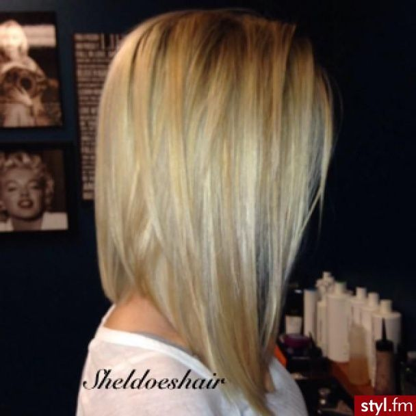 long angled bob. Cant wait until my hair gets a little longer. I want to even it out like this.