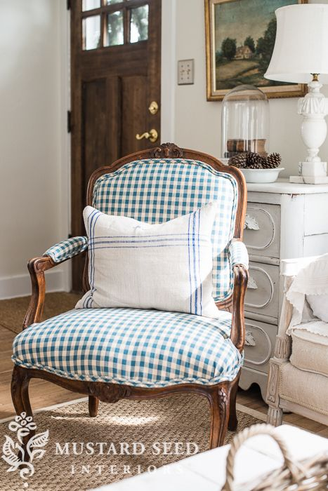 miss mustard seed checked chair http://missmustardseed.com/2015/03/checked-chair/ via bHome https://bhome.us
