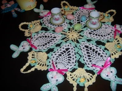 I LOVE this doily for Easter!  This would be so cute on a coffee table.