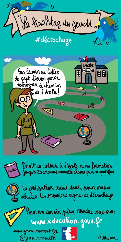 A la veille d'un déplacement de Manuel Valls et de Najat Vallaud-Belkacem sur le décrochage scolaire, le hashtag du jeudi c'est #décrochage.