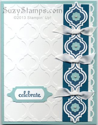 Stampin' Up! Cards - 2013-08 Mosaic Madness Stamp Camp, Modern Mosaic Embossing Folder, Mosaic Punch, Fabulous Phrases, Celebrate