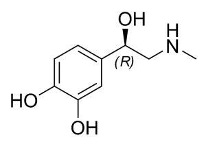 Molécula do hormônio Adrenalina (ou Epinefrina)