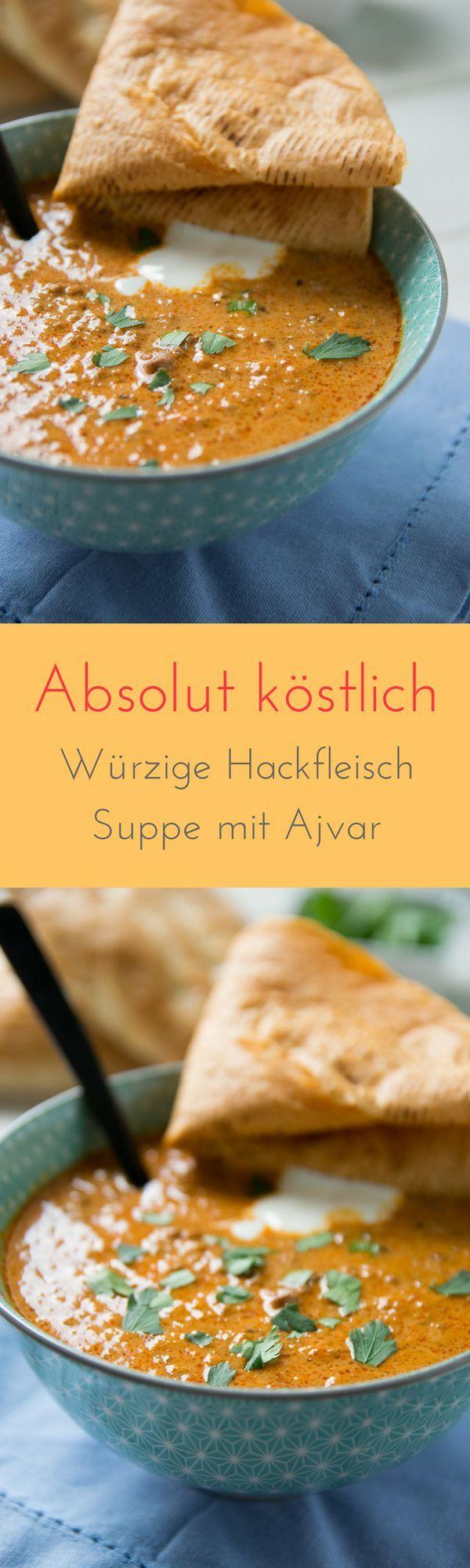Unglaublich lecker - ohne Nachwürzen und in nur wenigen Minuten zubereitet - diese Ajvar Hackfleisch Suppe ist der absolute Knaller und perfekt auch für die nächste Party